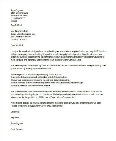 human resources cover letter sle human resources cover letter 7 exles in word pdf