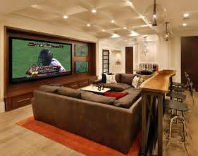 Family Media Room - media rooms with small bar interior decorating