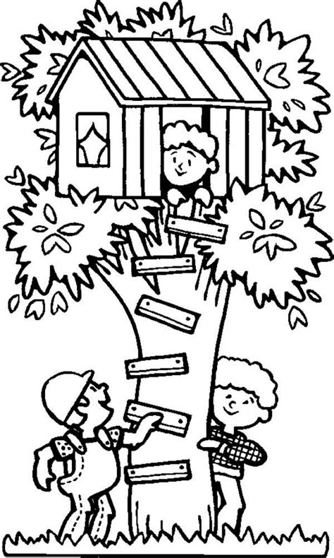 spending summertime  tree house coloring page