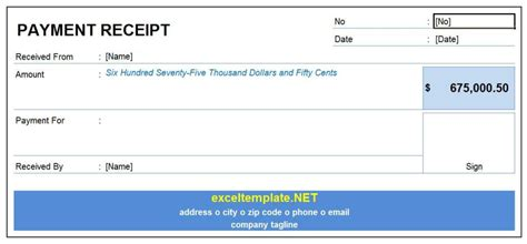 receipt template paid payment receipt excel templates