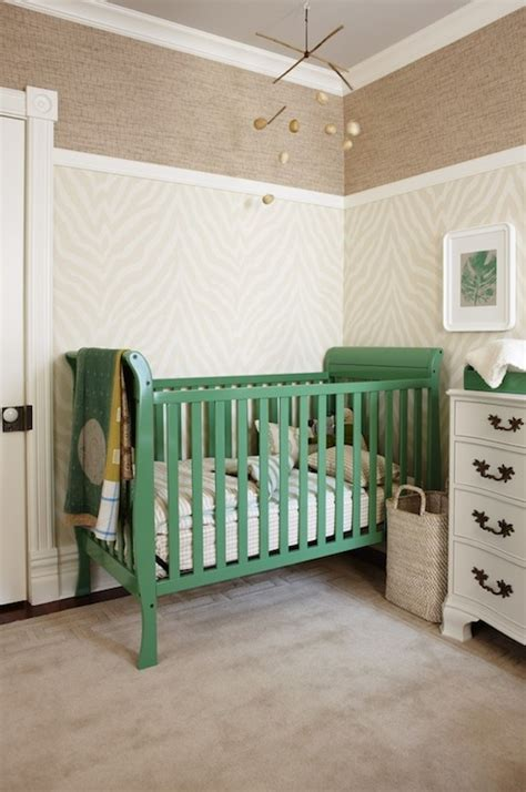 etosha wallpaper grey green nursery crib contemporary nursery para paints