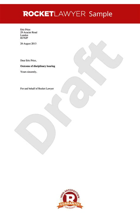 Disciplinary Appeal Letter Format disciplinary outcome letter warning letter to employee