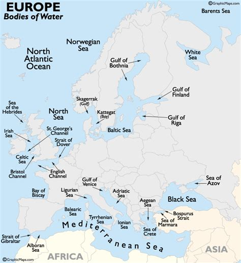 Europe Bodies of Water Map