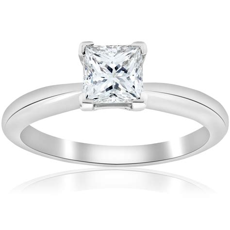 platinum d vs1 1ct certifed princess cut solitaire