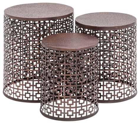 small outdoor accent tables squares copper metal accent tables set of 3 beach style