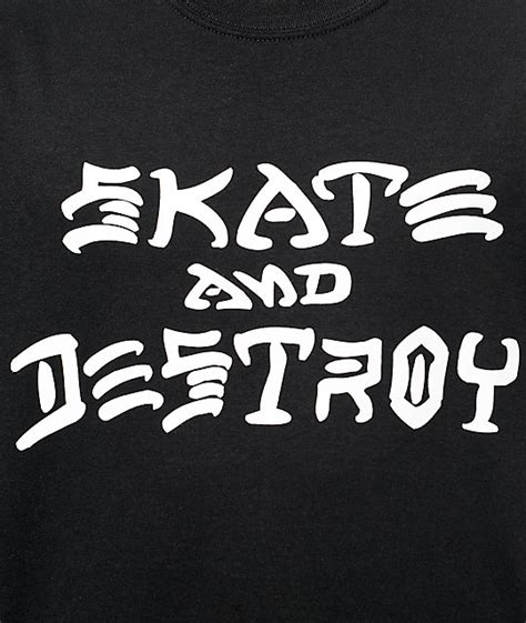 thrasher skate and destroy black t shirt zumiez