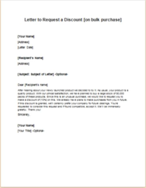 Purchase Order Letter To Supplier Letter To Request A Discount On Bulk Purchase