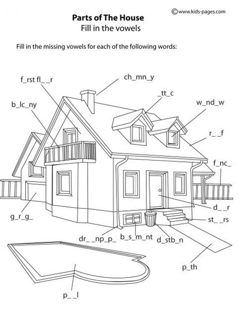 home design worksheet kids pages house parts b w exercises english