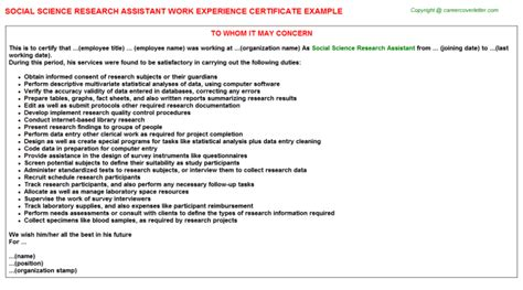 Research Experience Letter Format Social Science Research Assistant Work Experience Certificate