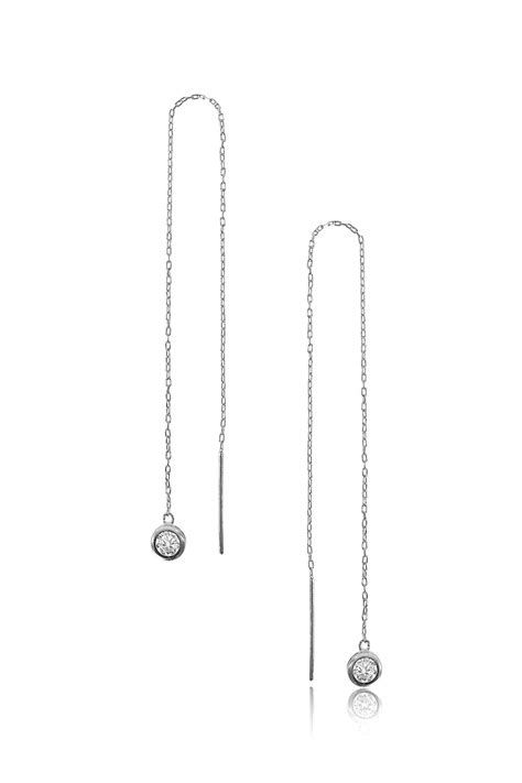 Sterling Silver Diamond Drop Long Earrings | Tadashi Shoji
