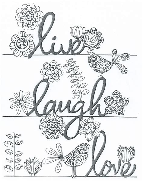 live laugh words coloring pages for adults