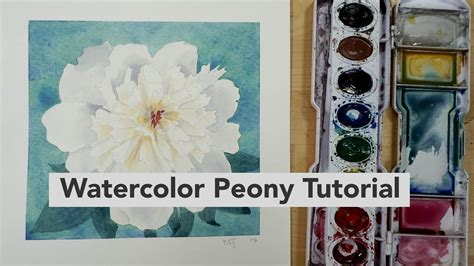 Watercolor Tutorial Intermediate | how to draw and paint a watercolor peony intermediate