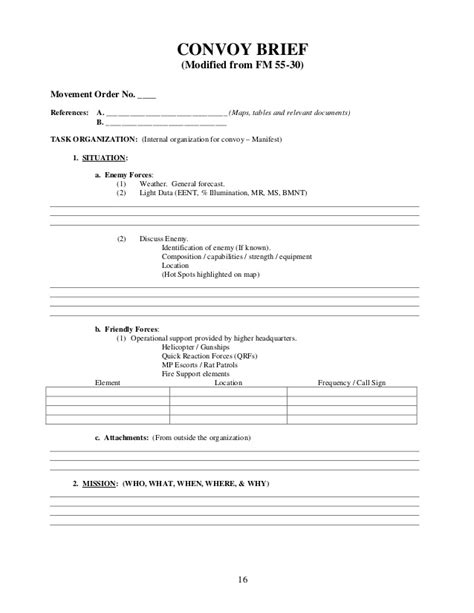 army information brief template convoy leader handbook