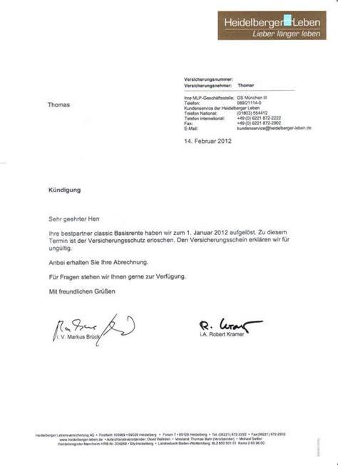 Vorlage Kündigung Der Lebensversicherung mlp k 252 ndigung bestpartner classic basisrente