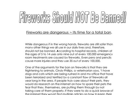 Should Be Banned Essay by Fireworks Should Not Be Banned Gcse Marked By Teachers