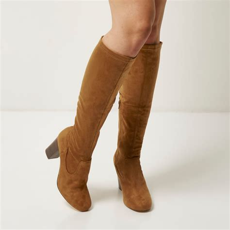 river island faux suede heeled knee high boots in