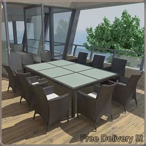 large garden dining set black rattan big glass table