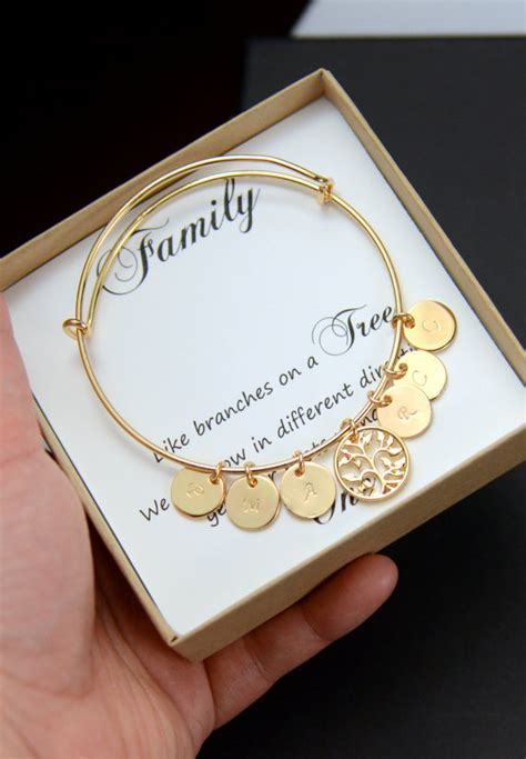 personalized gifts for women family tree bangle bracelet personalized women gift for women