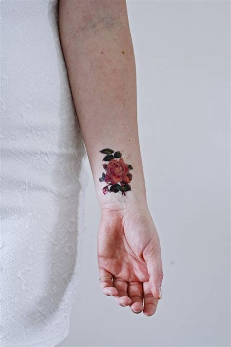 small pink rose temporary tattoo temporary tattoos by