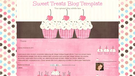 cute cupcake premade blogger blog template sweet treats