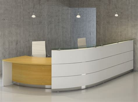 curved reception desk with practical unit arrangement