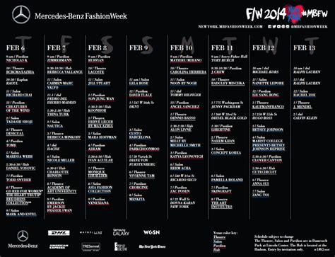 Mercedes Fashion Week Schedule by Mercedes Fashion Week Fall 2014 Preliminary Schedule