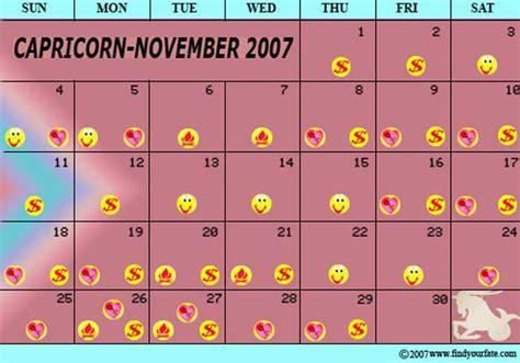 Capricorn Calendar 2007 Astrology Calendars For All Zodiac Signs Capricorn