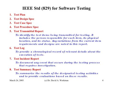 ieee 829 test plan template ieee standard 829 software testing