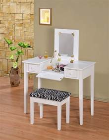 Vanity Table L Wooden Makeup Vanity Table Set With Flip Mirror White Or