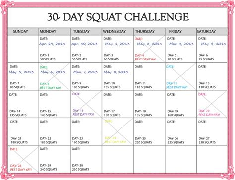 30 day calendar template search results for 30 day squat challenge printable