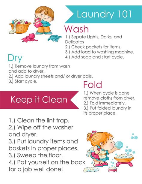 printable laundry directions 14 best images about teach kids how to do laundry on