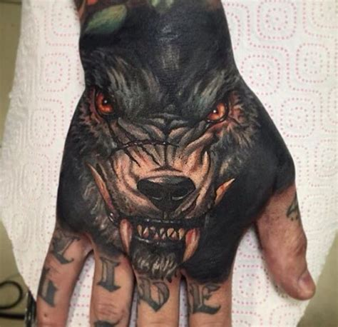 full hand wolf tattoo wolf hand tattoo tattoos pinterest hand tattoos