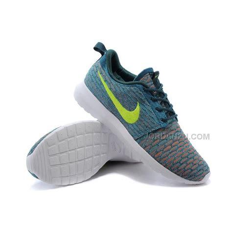 womens nike flyknit roshe run shoes green white volt