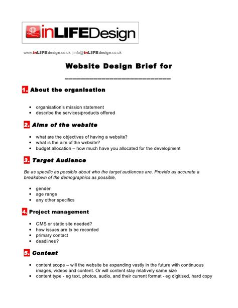 design brief exle architecture web design brief template