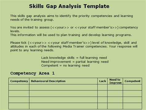 competency gap analysis template get skills gap analysis template excel projectmanagersinn