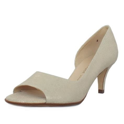kaiser jamala open toe shoes in white gold mozimo