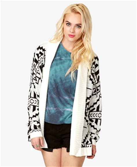 Dress Reshiko Knit open knit tribal print cardigan forever21 2057831109