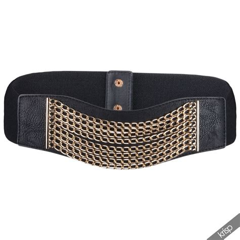 womens wide gold multi chain stretch leather obi belt