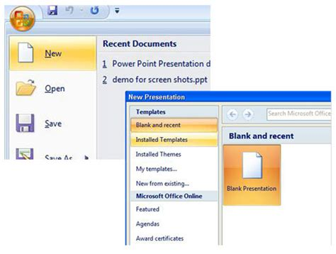 how to create a new powerpoint 2007 presentation from a