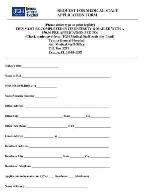 staff application template hospital form to had staffs fill printable