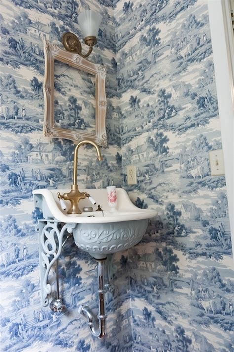 sapphire toile wallpaper french bathroom
