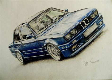 bmw car drawing bmw e30 colored pencils drawing by gilbert maepa my