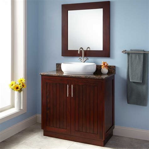 36 quot narrow depth montara mahogany vessel sink vanity
