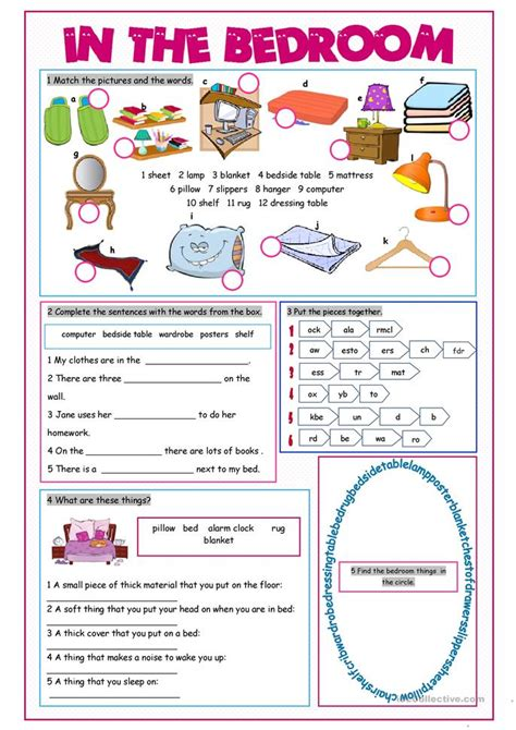 bedroom vocabulary list in the bedroom vocabulary exercises worksheet free esl