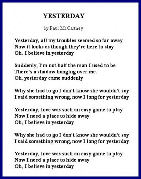 song poem divorce poems literature lyrics and paul mccartney