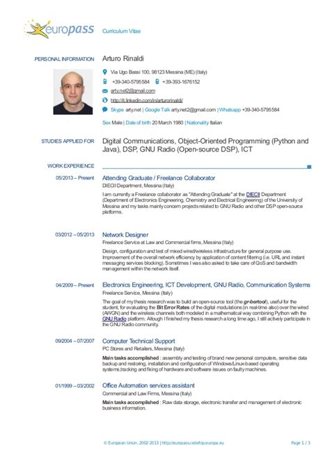 Education On A Resume Example by Resume A Rinaldi Europass