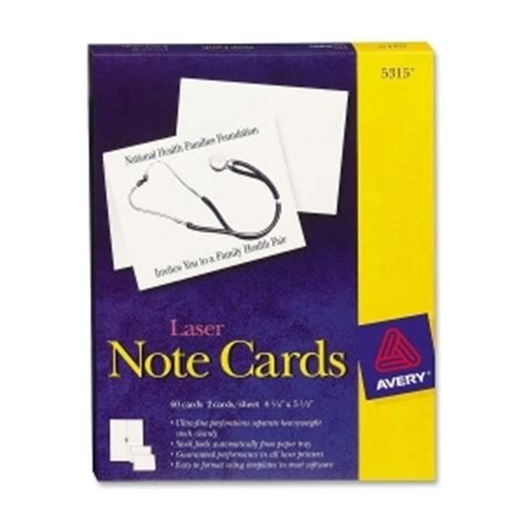 avery 5315 custom matte note cards w envelopes 4 1 4 quot x 5 1 2 quot 60 box white ave5315 note