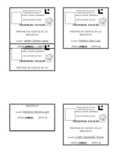 credenciales escolares formato formato credenciales biblioteca