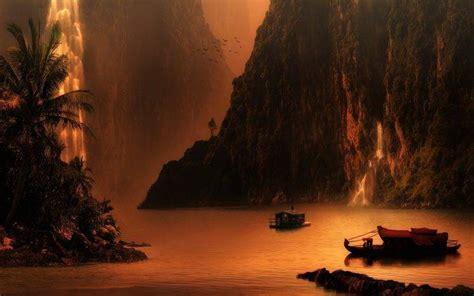 nature landscape mountain waterfall sunset lake palm