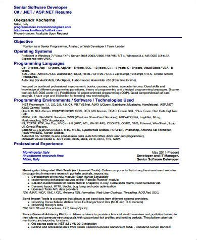 senior software engineer resume template sle software developer resume 9 exles in word pdf
